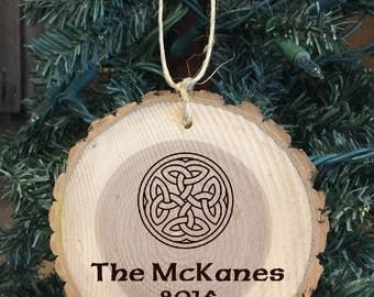 Personalized Wood Ornament with Celtic Knot and The Family Name with Year