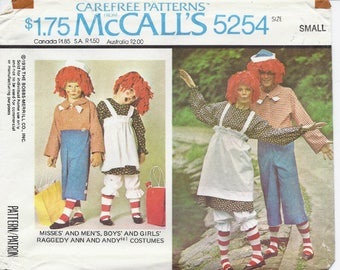 Raggedy Ann and Andy costumes pattern in Children's and Misses' & Men's sizes McCalls 2625/5254/7232/P259  UNCUT and FF (2001/1985)  K0223