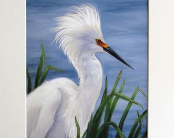 Egret - Egret painting - Snowy egret - white heron - waterfowl art - bird painting
