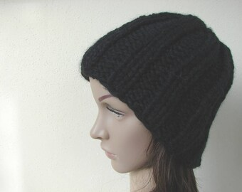 Hand knit hat black adult unisex warm comfortable winter hat knit in round alpaca acrylic black hat men women chunky knit hat free shipping