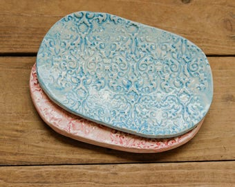 Handmade ceramic soap dish, vintage lace, pastels, bathroom accessory, handmade soap holder, pottery soap dish, handmade gift, pottery dish