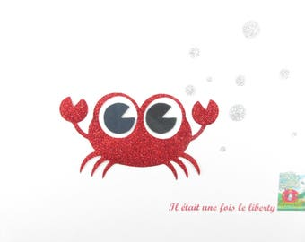 Iron on patch applied fusible crab in red and silver glitter fabric, appliqué crab badge iron on glitter fabrics