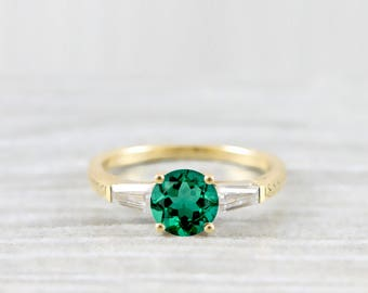 Emerald and moissanite engagement ring handmade in white/rose/yellow gold or platinum with baguette accent stones