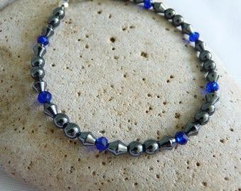 Hematite and Crystal Glass Bead Bracelet