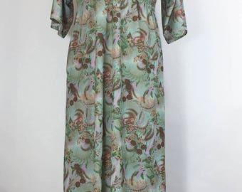 Vintage Caftan Dress Green Floral Caftan Green Floral Maxi Dress 1960s Caftan Polyester Deep V Dress Muu Muu Loungewear Boho Festival