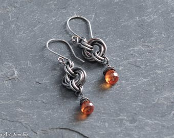 Mobius flower, chainmaille, oxidized sterling silver, and orange CZ teardrop dangle earrings