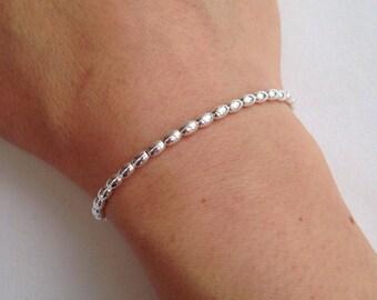 Sterling silver bracelet, silver olive bead bracelet, minimal silver bead bracelet, gift, shiny silver stretch bracelet, small bead bracelet