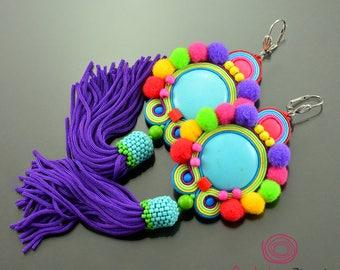 Colorful pom pom earrings, pompom jewelry, turquoise tassel earrings,  dangle pom pom earrings, purple fringe earrings, colorful soutache