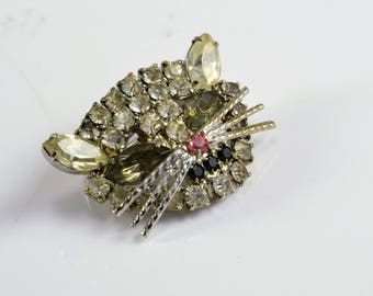 Cat Face Rhinestone Brooch - Pink Nose - Smoky Gray Eyes - Black Mouth - Prong Set on Silver Tone - Vintage Whimsy