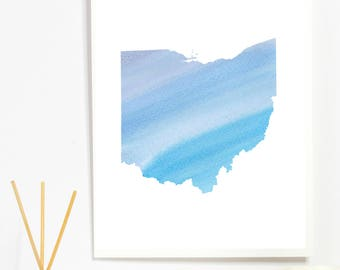Watercolor Ohio PRINTABLE art-office printable,typography,craft room,watercolor art, printable watercolor, state art, custom state