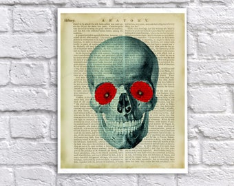 Halloween Decorations Anatomy Flower Art Print - Human Skull with Poppies in Eye Sockets with Vintage Anatomy Textbook Page image background