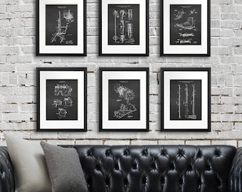 Skiing home decor set of 6 art prints ski patent with chalkboard background image. Unique Decor for Winter Ski lodge, great as skiing gifts.