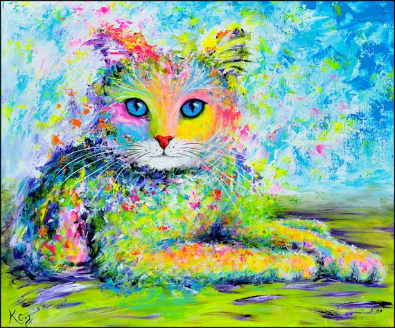 "Cat Painting - Cat Wall Art, Cat Decor, Cats, Kitty Art, Kitten Art, Original Painting ""Sunshine Kitty"" 22 x 26 inches, Acrylic on Canvas."