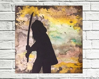 Michonne w/ Katana The Walking Dead Silhouette Portraits 12x12 Industrial Grunge Background