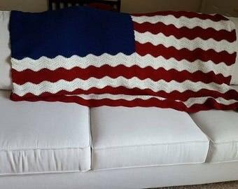 Crochet Wavy American Flag Afghan