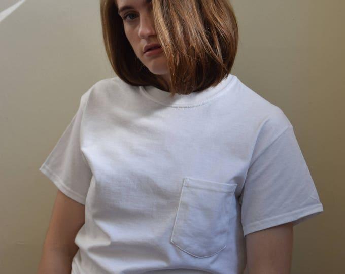 Personalized Unisex Cotton Pocket Tee  |  White