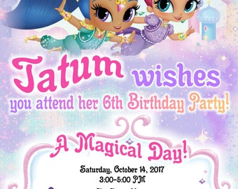 Printable Shimmer and Shine Birthday Party Invitations Personalized 4 Designs to choose from