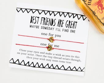 Best Friends Funny Wish Bracelet, Best Friend Are Great, Set of Two, Friendship Bracelet, 2 of a kind, Snarky Card for Best Friend, Gift
