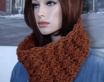 Cinnamon Brown Scarf Handmade Cowl, Thick Blanket Stitch Crocheted Loop Scarf for Him or Her READY TO SHIP