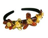 Amber flower bezel on the head Hair flower amber Crown wreath flowers Headband flower stone baltic amber jewelry hair for girl woman