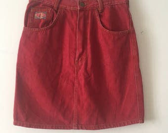 80s Red Denim Skirt