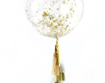 "36"" Cloud Nine Balloon, Giant Clear Balloon, Confetti Balloon, Tassel Balloon, First Birthday, Wedding Balloon, Bridal Shower, Baby Shower"