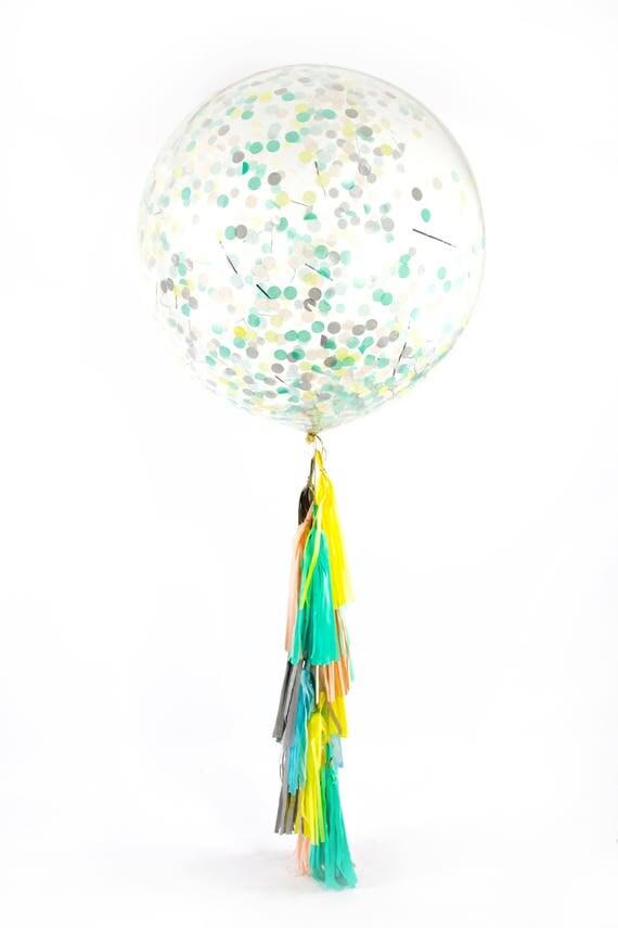 "36"" Sherbet Balloon, Giant Clear Balloon, Confetti Balloon, Tassel Balloon, First Birthday Wedding Bridal Baby Shower Tropical Decor"