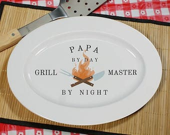 Grill Master By Night Platter, Personalized BBQ Platter, Personalized Grill Master Platter