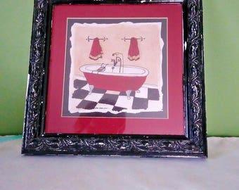 Vintage Distressed Black Ornate picture frame, Red bathtub art, 7 x 7 photo size, 1960s frame, white undertones, bathroom art