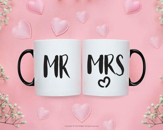 Mr Mrs MUG SET / Mr and Mrs Gifts / Wedding / Wedding Gift Set / Wedding Set for Mr and Mrs Wedding Gift  Bride To Be Couple Gift 214O