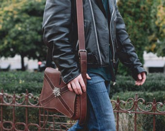 Witcher bag, crossbody bag, leather mens bag, Witcher costume, wolf bag