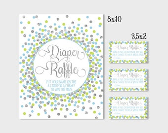 Diaper Raffle Sign Blue Lime Green Confetti Baby Shower Diaper Raffle Sign And Tickets Printable Shower Games Blue Lime Green And Silver