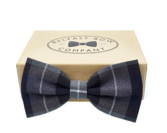 Handmade Tartan Bow Tie in Navy and Grey - Adult & Junior sizes available