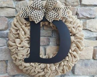 Burlap Wreath, Black Chevron Burlap Wreath, Monogram Wreath, Burlap Monogram Wreath, Front door Wreath, Everyday Wreath, Personalized letter