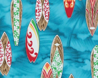 Cotton Quilt Fabric Surfboard Blue Ocean, Hawaiian Print Fabric HCN10143 Ask for Bulk