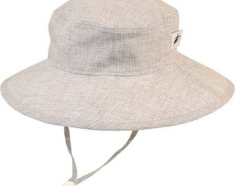 Child's Sun Protection 100% Linen Sunbaby Hat - Summer Day Linen in Grey Check (6 month, xxs, xs, s, m)