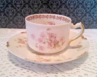 Antique Haviland Tea Cup and Saucer, Limoges Porcelain, Coordinated Set, Pink Roses, Gold Trim, Cottage Chic, Circa 1889-1896