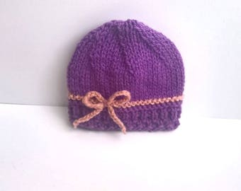 0/3 or 3/6 months hand knitted baby Hat wool old violet baby pink Sweet Crystal