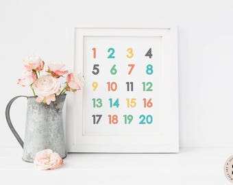Numbers Print — Nursery Print Numbers Print Colorful Print Children Printable Wall Art Kids Room Art Children's Prints INSTANT DOWNLOAD