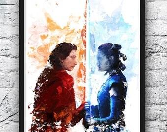 Star Wars Watercolor Poster, Rey Kylo Ren Art Print, Darth Vader, Skywalker, R2D2, Movie Poster, Kids Room Decor, Home Decor, Wall Art - 815
