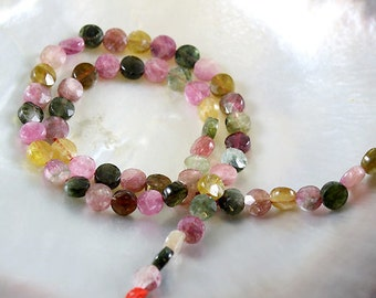 Tourmaline Beads - Coin Faceted 7 mm