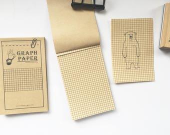 Kraft Graph Memo Pad, Kraft Grid, Graph Paper, Memo Graph Paper, Kraft Memo Pad, Kraft Stationary, Vintage Kraft Paper, Vintage Grid Paper