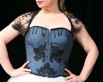 Blue corset with lace