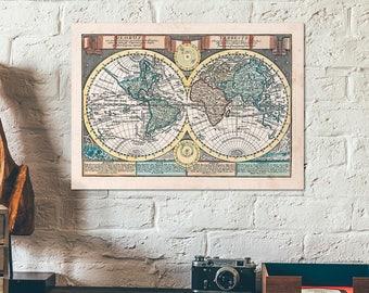 Double hemisphere etsy hand colored double hemisphere worldmap globus terrestris old antique map of the world gumiabroncs Images
