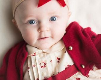 RUBY VINTAGE VELVET Skinny Hand-tied Bow (Headband or Clip)- velvet bow headband; velvet bow; newborn headband; baby headband; bow