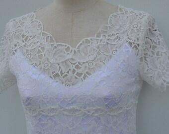 Top ecru lace, lace woman blouse, top in ivory lace ecru wedding lace ecru women short sleeve top sleeve short top