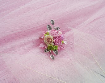 Floral Brooch with peony and roses