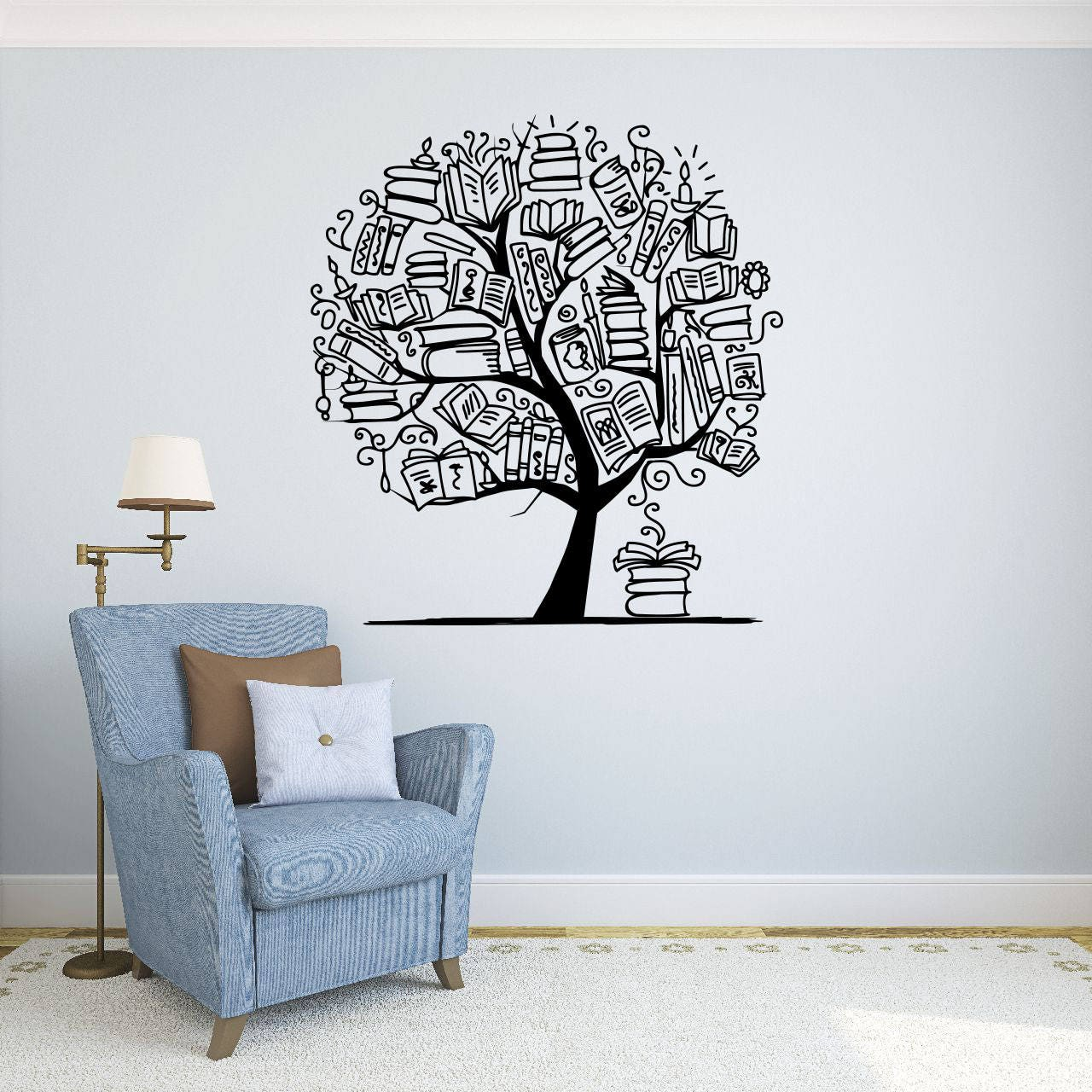Welcome Wall Sticker Tree With Books Wall Decal Library Vinyl Sticker Education