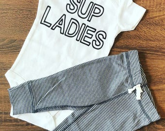 Ready to Ship | Ladies Man | Sup Ladies | Funny Baby Outfit | Trendy Boy Clothes | Hipster Baby Clothes | Cute Boy Clothes