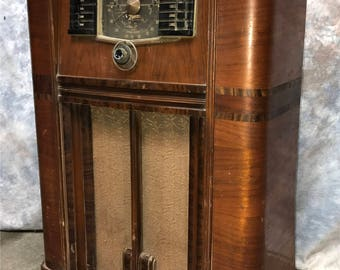 1942 Zenith Rotor Wave Magnet Short Wave Distance Tube Radio Console Vintage